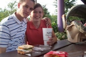 Our Chick-Fil-A Calendars hard at work--at least we didn't have to dress up like a cow for these free sandwiches!