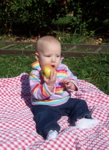 Boy, oh boy was she excited to get this apple!